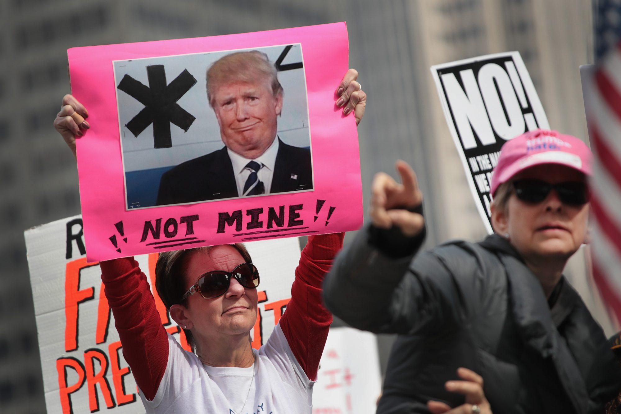 Protesta en 2017 en Presidents Day (Día de los Presidentes) en Estados Unidos.