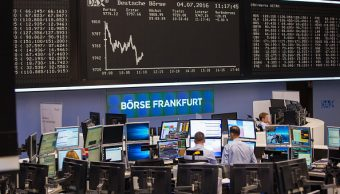 Piso de operaciones en la Bolsa de Frankfurt