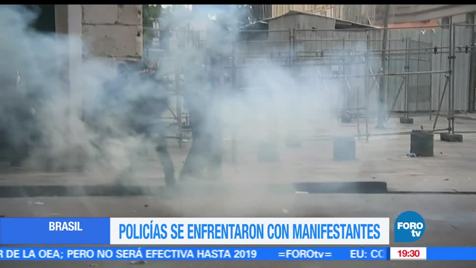 Policías, reprimen, manifestantes, Brasil, Manifestaciones, Michel Temer