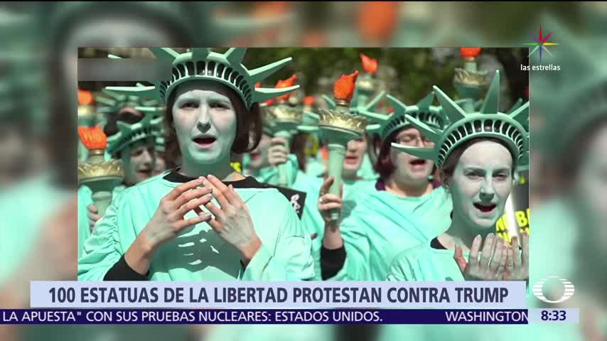 Protestan 100 'Estatuas de la Libertad' contra Trump en Londres