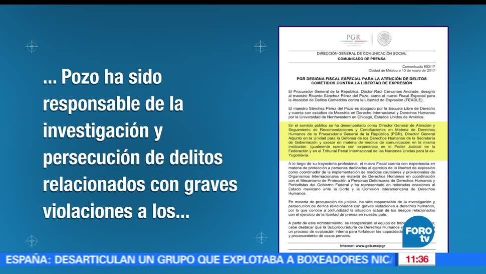 Raúl Cervantes Andrade, Ricardo Sánchez Pérez del Pozo, Atención de Delitos Cometidos, Libertad de Expresión