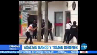 noticias, forotv, Asaltan, banco, toman rehenes, Tabasco