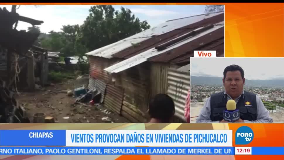 Vientos intensos, viviendas, Pichucalco, Chiapas. pronóstico de lluvias
