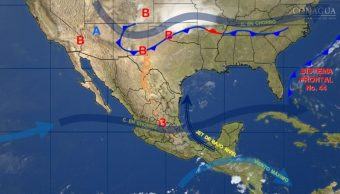 Mapa con el pronóstico del clima para este 3 de mayo.