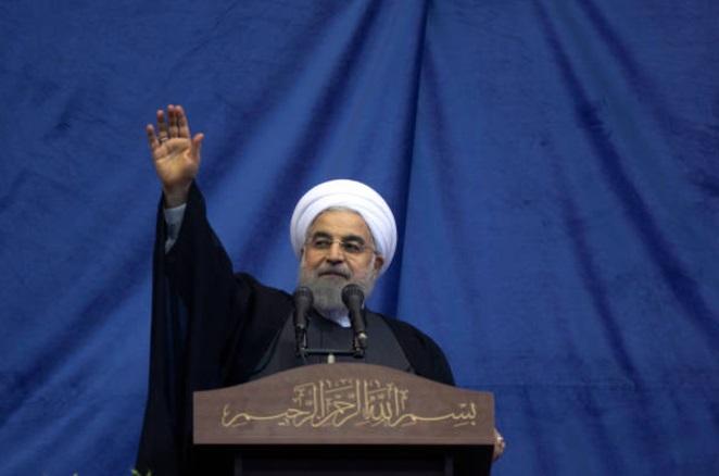 El presidente de Irán, Hassan Rouhani, durante una manifestación de apoyo (Getty Images)