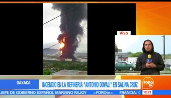 incendio, refinería de Salina Cruz, Oaxaca, residuos desbordados, tormenta Calvin