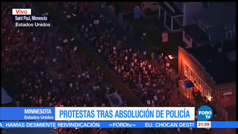 Protestan, Minnesota, absolución, policía, asesinato, afroamericano
