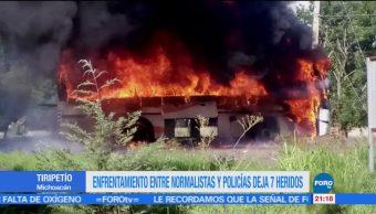 Enfrentamiento, normalistas, policías, Michoacán, polcias, normalistas