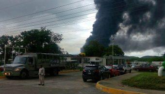 Trabajos de limpieza, Refineria, Salina cruz, Oaxaca, Incendio