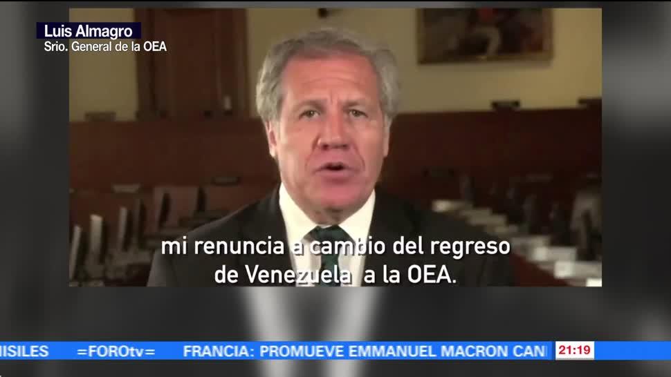 Almagro, ofrece, renunciar, OEA, cambio, libertad Venezuela