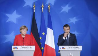Angela Merkel y Emmanuel Macron en Bruselas