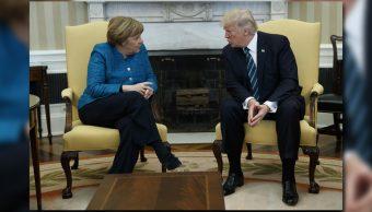 Angela Merkel y Donald Trump en el Despacho Oval