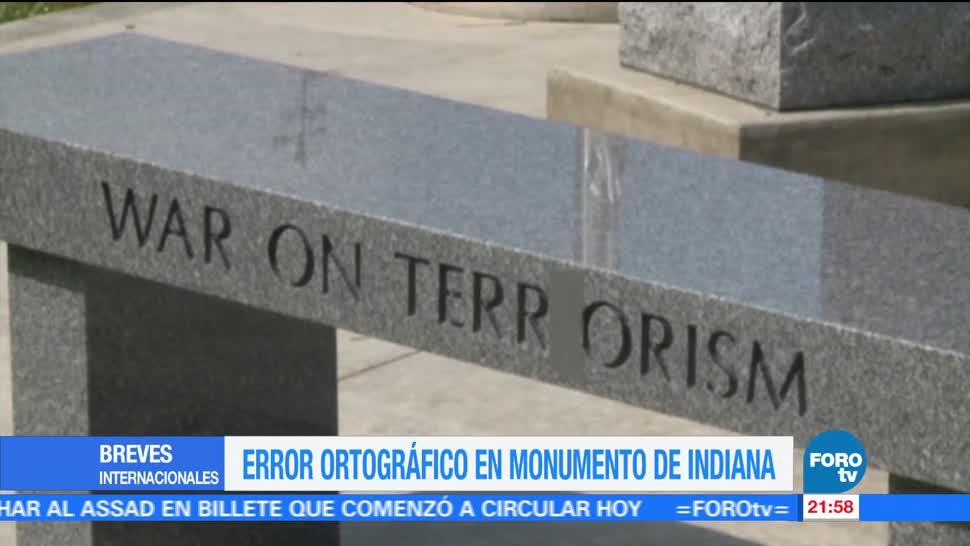 Causando revuelo, error ortográfico, monumento, Indiana, Estadaos Unidos, Terrorismo