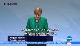 Angela Merkel, lamenta la salida de Estados Unidos, acuerdo climático