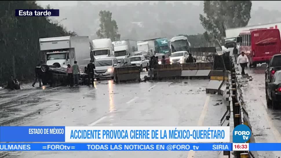 Accidente, México-Querétaro, complica la vialidad