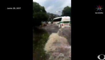 Policía Capitalino, Lesionado, Inundación, Indios Verdes, Camión, Olas, Muro