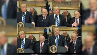 Expresiones hilarantes de Buzz Aldrin en el discurso de Donald Trump sobre el espacio (Foto: Youtube The White House)