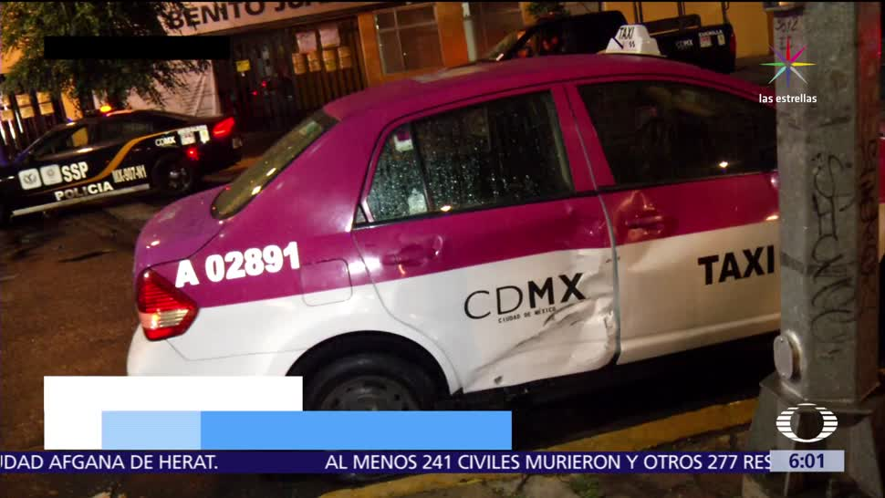 Choca, policía, contra, taxi