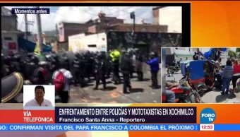 Policías, mototaxistas, enfrentamiento, Xochimilco