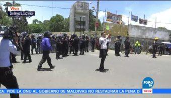 Mantienen cerco de seguridad en San Gregorio, Xochimilco