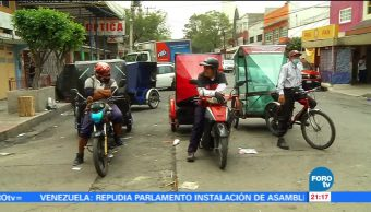 Manifestación de mototaxistas en Delegación Tláhuac