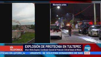 Dos muertos lesionado explosión en Tultepec