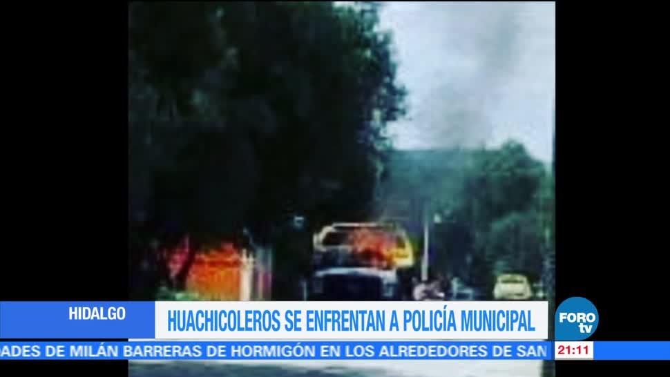 Huachicoleros se enfrentan con policías en Hidalgo