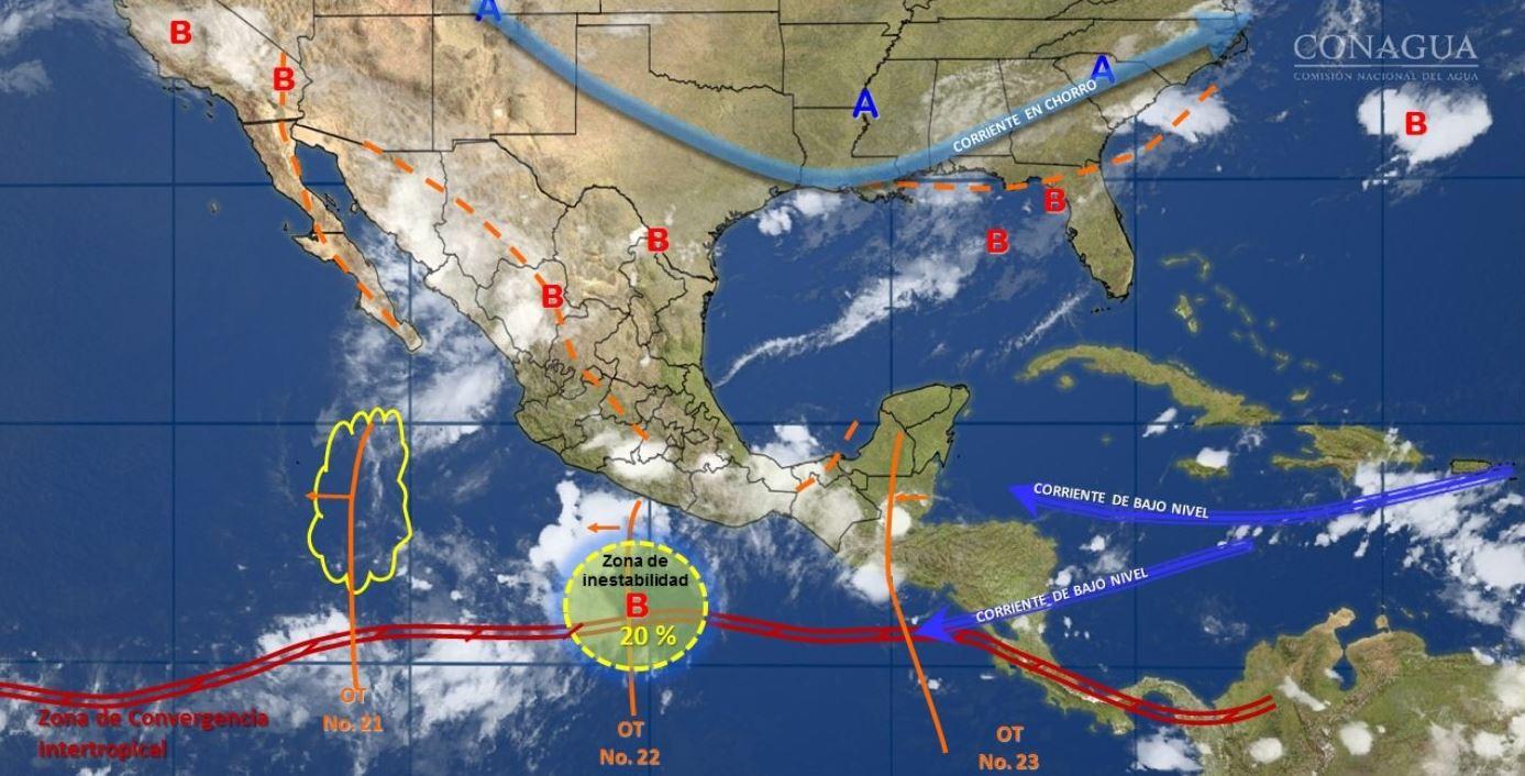 mapa con el clima para este 3 de agosto