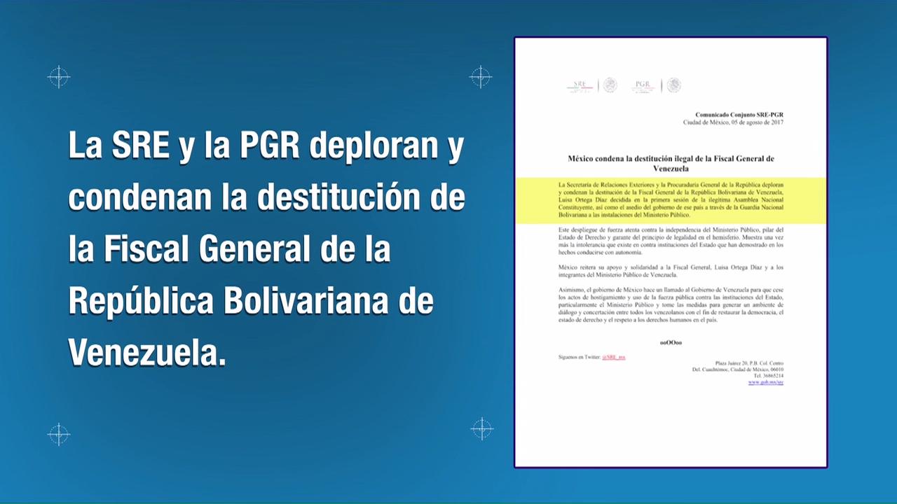 México condena destitución de la fiscal de Venezuela
