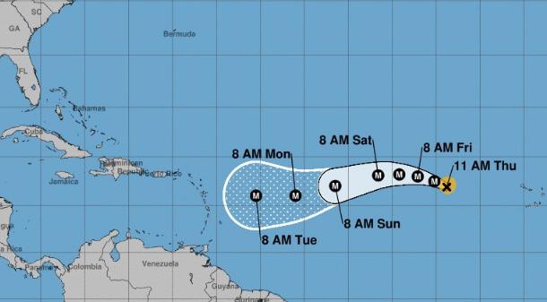 Mapa de la trayectoria del huracán Irma