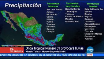 Onda Tropical número 31 provocará lluvias en el Valle de México