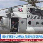 Helicópteros de la armada transportan despensas en Oaxaca Cuatro helicópteros tipo MI-17 de la armada mexicana transportan miles de despensas para los damnificados en Oaxaca por el sismo