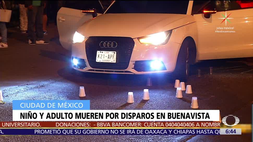 Mueren hombre y niño por disparos en Buenavista, CDMX