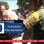 Ejército Mexicano entrega ayuda a damnificados por el sismo en Oaxaca