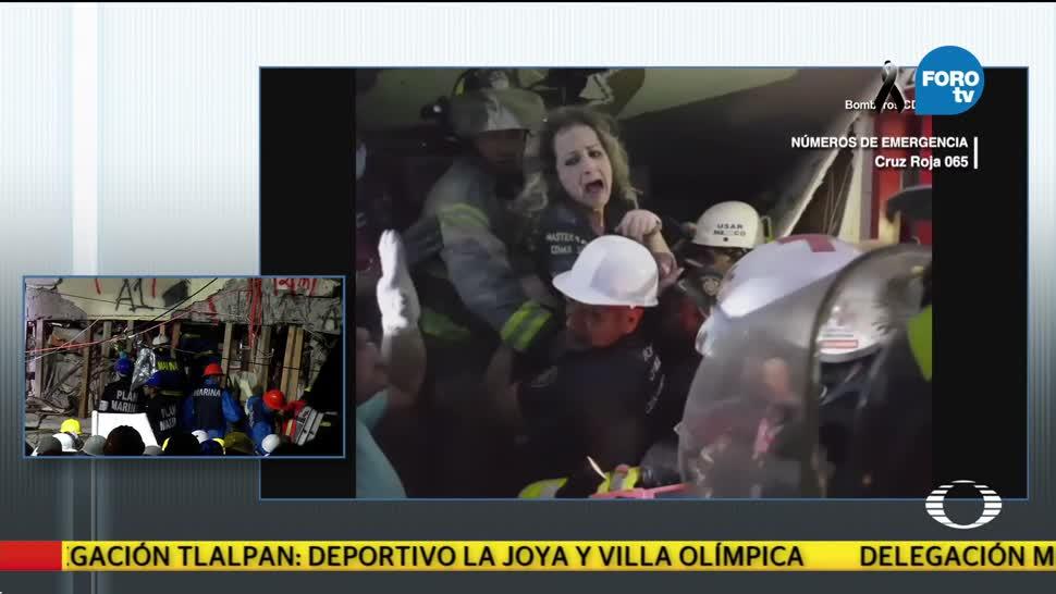 Así rescataron dos personas en edifico en Álvaro Obregón
