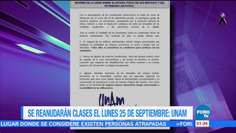 UNAM reanudará clases el lunes 25 de septiembre - Televisa News