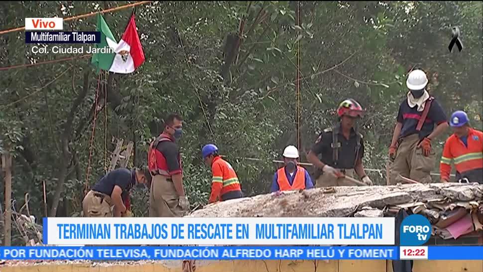 Concluyen trabajos de rescate en Multifamiliar de Tlalpan
