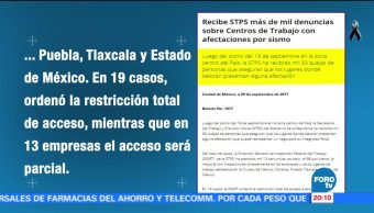 STPS recibe quejas por daños a centros de trabajos