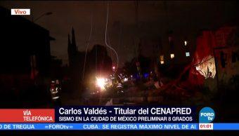 Cenapred evalúa daños en CDMX tras sismo