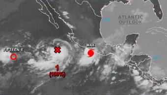 Imagen satelital de tormentas en el Pacífico mexicano