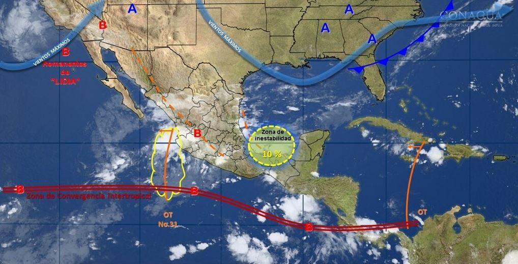 mapa con el pronostico del clima para este 4 de septiembre