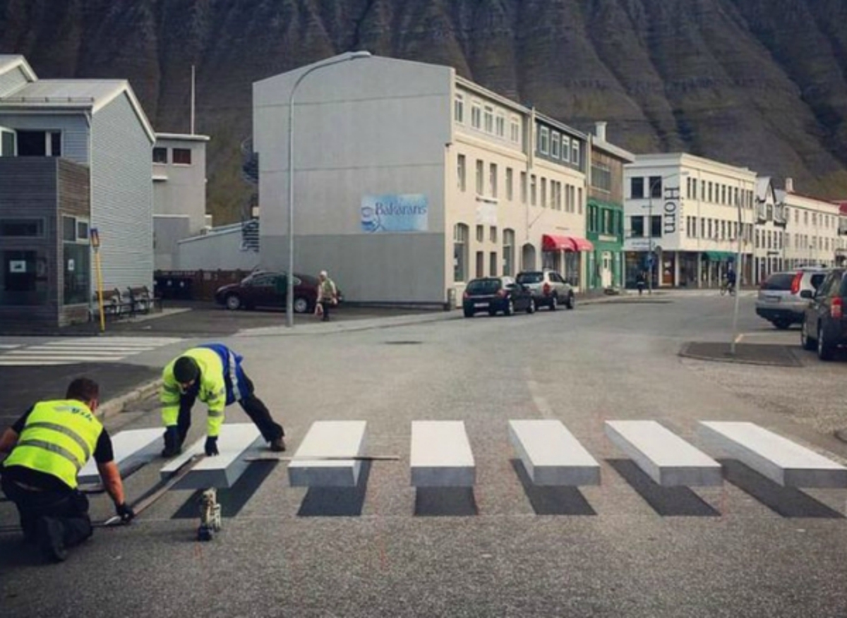 Ilusión Óptica, Cruce Peatonal, 3D, Islandia, Tridimensional, Peatones