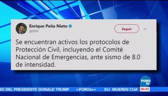 Protección Civil activó protocolos por sismo EPN