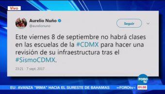 Suspenden clases en la Ciudad de México tras sismo