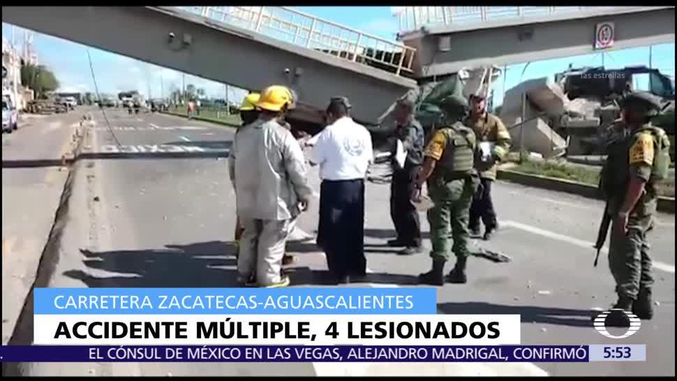 Accidente múltiple en Aguascalientes deja cuatro lesionados