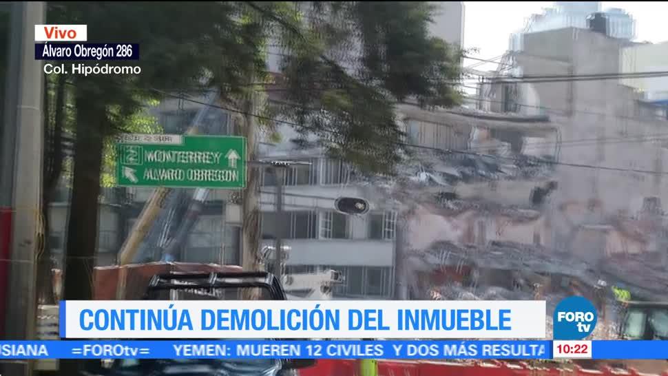 Continúa labores de demolición de Álvaro Obregón 286
