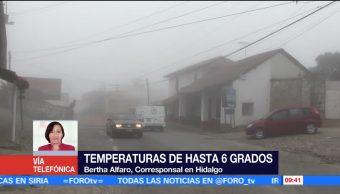 Termómetros en Hidalgo registran bajas temperaturas