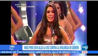 Miss Perú alza la voz durante concurso de belleza