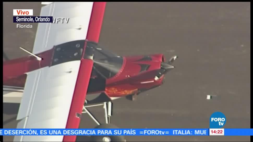 Aterriza avioneta en autopista de Orlando