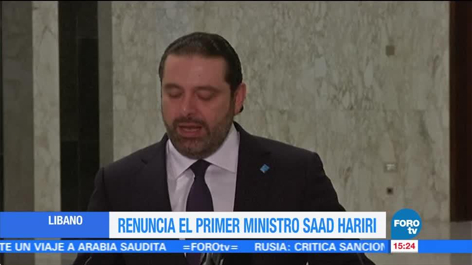 Renuncia el primer ministro de Líbano, Saad Hariri